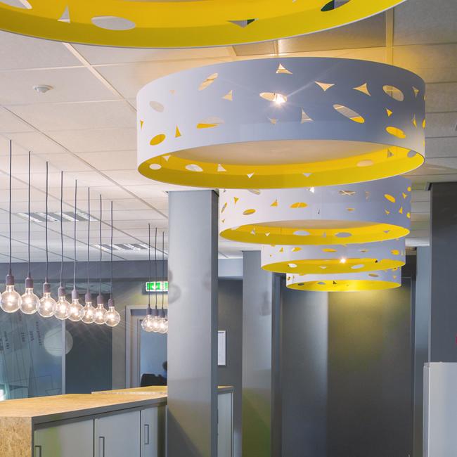 Headquarters Dura Vermeer-Heyma, Custom made O-Shape-White-Yellow pendant lights