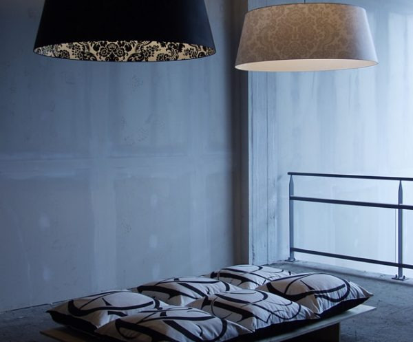 Delight pendant lamps and Repose pillows at the presentation in Loods 6, KNSM building Amsterdam