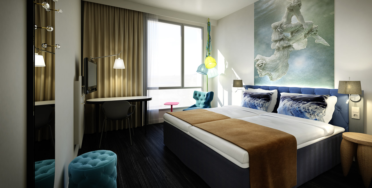 Scandic Fornebu room with Blue water pillows