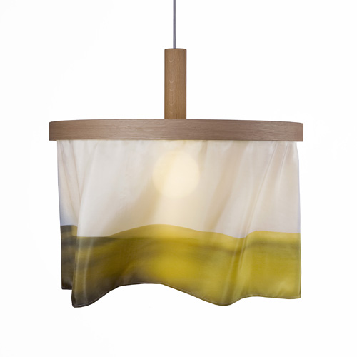 oak and silk pendant light-abstract yellow