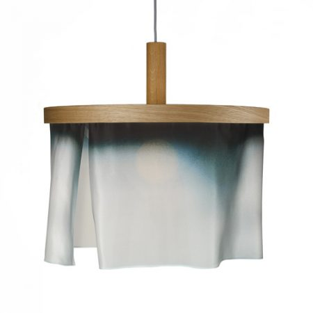 oak and silk pendant light-faded blue