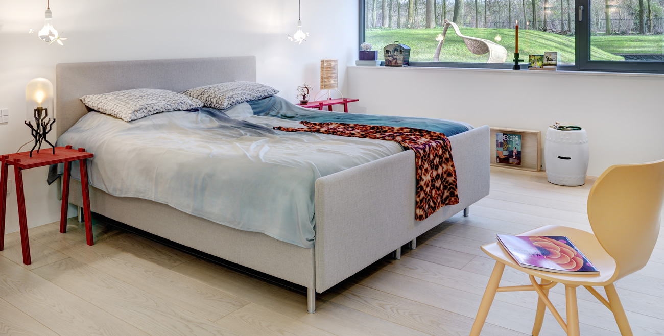 Villa in The Netherlands-Bedroom with Silk Faded Blue covers