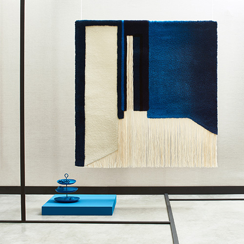 Nicolette Brunklaus, blue room Acoustic Tapestry Blue Room175x175 cm wool made in the Netherlands