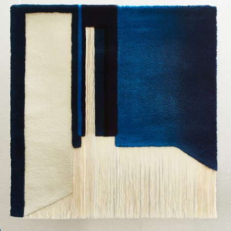 Nicolette Brunklaus, tapestries blue room Acoustic Tapestry Blue Room175x175 cm wool made in the Netherlands