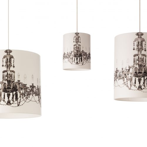 Chandelier printed on a white lampshade