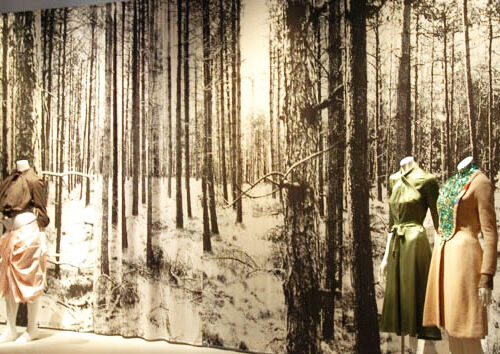 Forest curtains in silk with digital print of a forest exhibition FIT new york