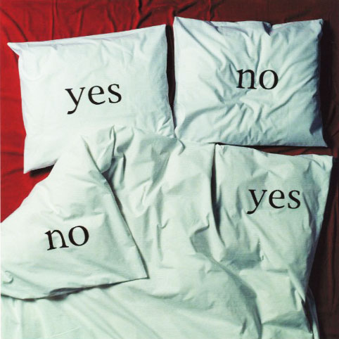 Yes No pillowcases and duvet designed by Nicolette Brunklaus 1996