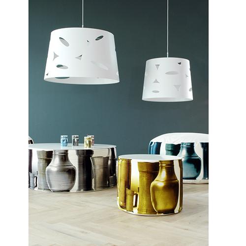 Poef Tin met 0-shape wit en Tin cups-Studio